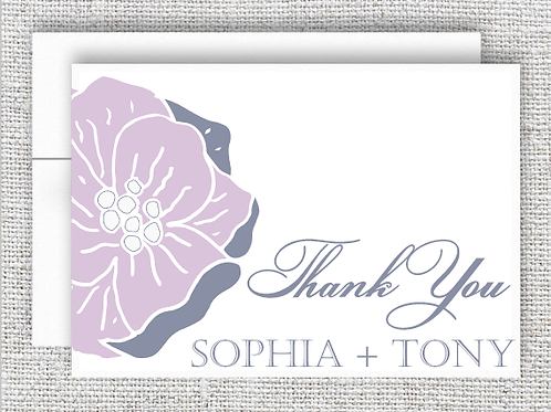Personalized Floral Wedding Thank You Card