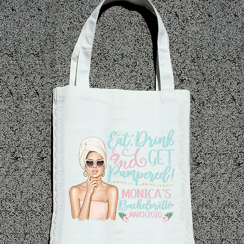 Eat Drink and Get Pampered Bachelorette   Spa Party Tote Bag Favor
