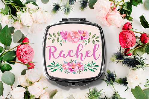 Fancy Floral Personalized Name Compact Mirror -Bridesmaid Bridal Part