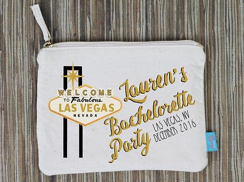 Las Vegas Bachelorette Bridal Party Makeup Cosmetic Bag