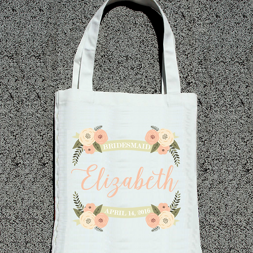Floral Personalized Bridesmaid Wedding Tote Bag