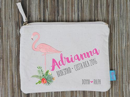 Flamingo Destination Wedding Bridal Party Makeup Cosmetic Bag