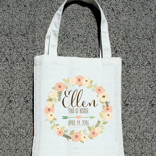 Floral Wreath Bridal Party Wedding Tote Bag