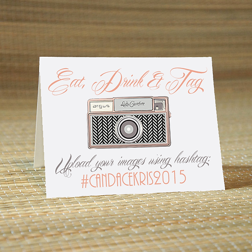 Eat, Drink + Tag -Social Media Hashtag Place Card