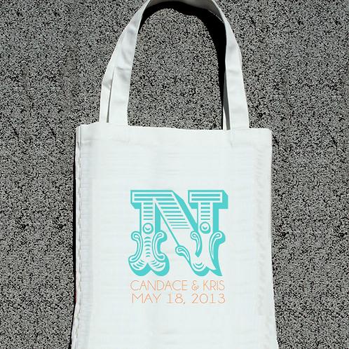 Personalized Monogram Wedding Tote Bag