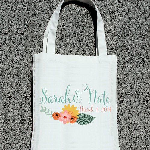 Floral Couple Wedding Welcome Tote Bag
