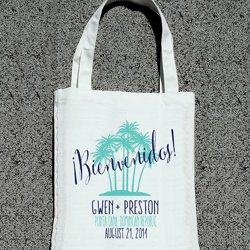 Bienvenidos Palm Destination Wedding Tote Bag