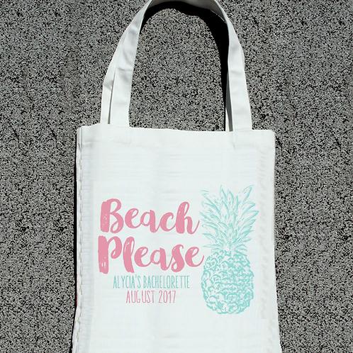 Retro Beach Please Pineapple Beach Bachelorette Tote Bag