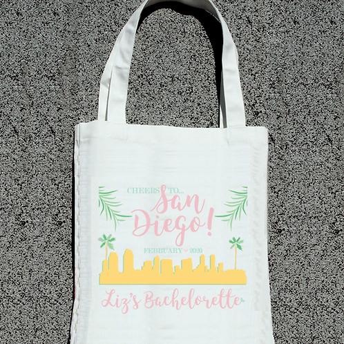 San Diego Skyline Tropical Welcome Bachelorette Party Tote Bag