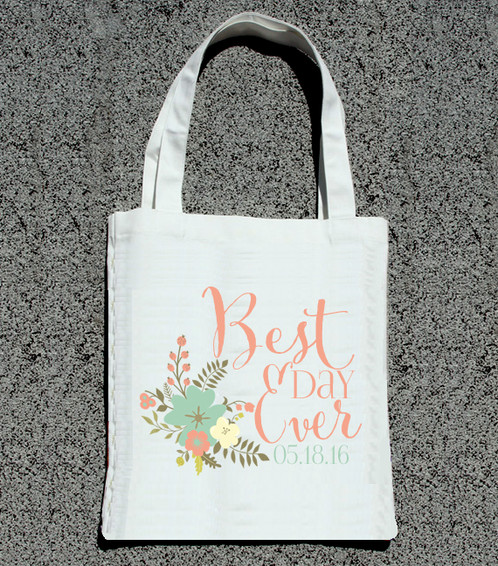best day ever personalized wedding tote bag