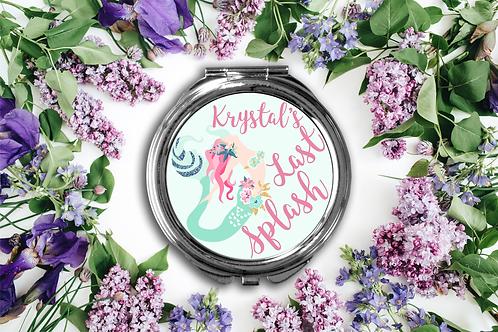 Last Splash Bachelorette Mermaid Compact Mirror -Bridesmaid Bridal Party Mirro