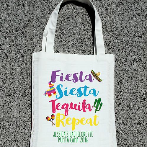 Funky Fiesta Siesta Tequila Repeat Bachelorette Tote