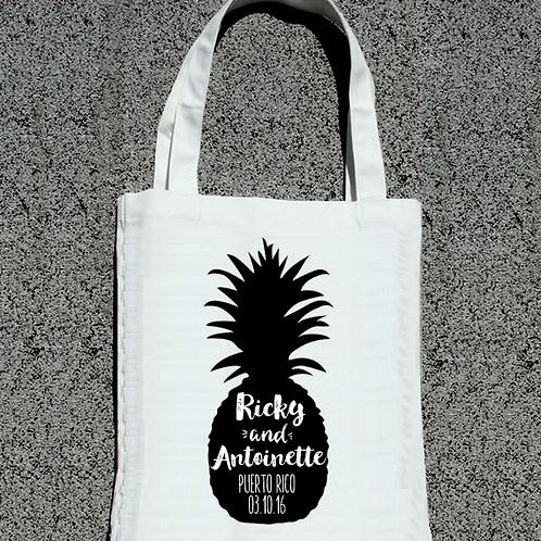 Pineapple Silhouette Destination Wedding Tote Bag