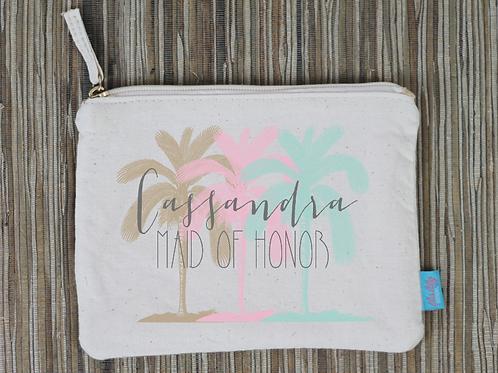 Palm Trees Destination Wedding Bridal Party Makeup Cosmetic Bag
