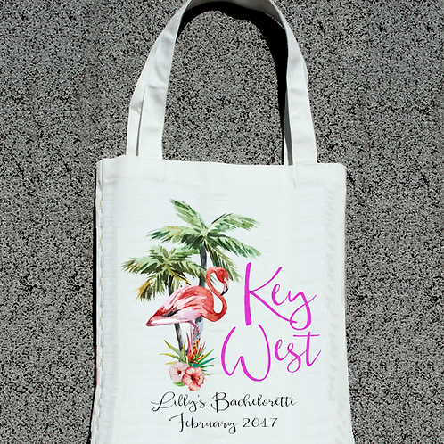 Key West Lets Flamingle Flamingo Beach Bachelorette Tote Bag