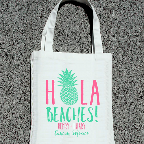 Hola Beaches Pineapple Destination Wedding Mexico Wedding Tote