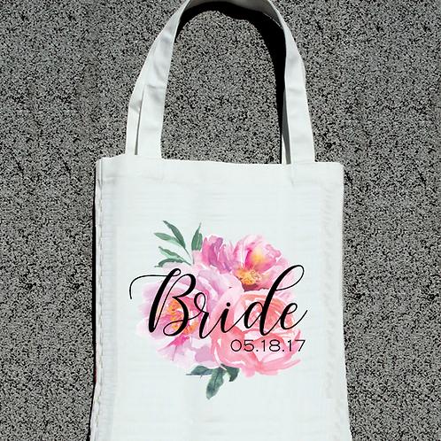 Floral Watercolor Bride with Date -Bride Tote Bag