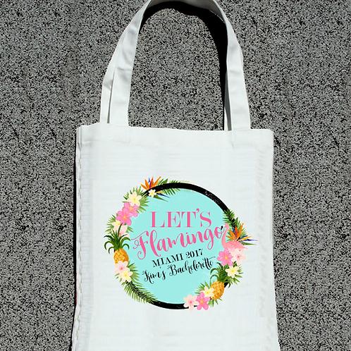 Let's Flamingle Floral Flamingo Pineapple Bachelorette Tote Bag