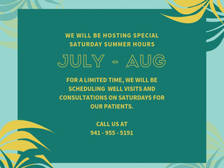 Special Saturday Summer Hours