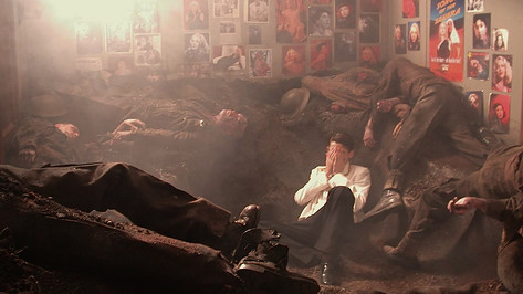 Bedroom as War Zone; studio set