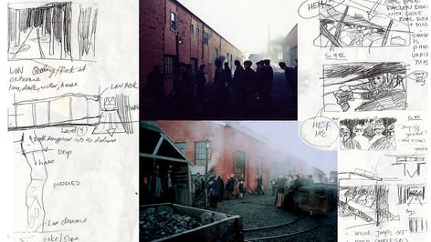 Mine Build/Location; designer's preliminary sketches & set photos