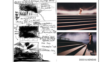 Designer's Prelim Sketches with Completed Production Shots; studio set