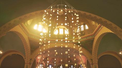 Ovum Quadratum II; die-cut fiberglass, monofilament, 40'h x 8' diameter; St. Annes Anglican Church, Toronto