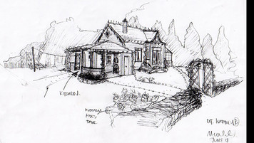 Farmhouse; designer's scribble sketch