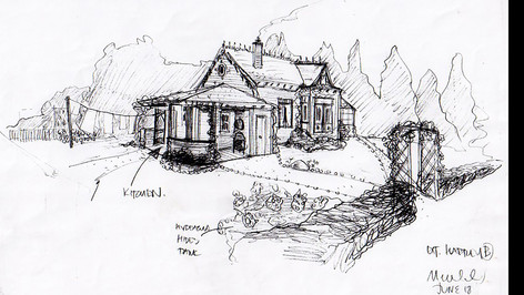 Farmhouse; designer's scribble sketch