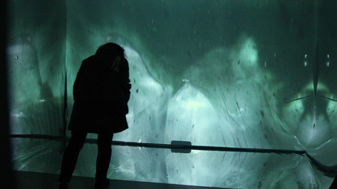 Archaean; mirror plexi, rear projection screen, live-feed camera, ice, water carafe; Nuit Blanche, Toronto