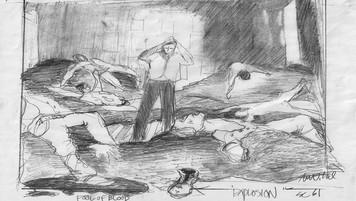 Bedroom as War Zone; designer's sketch