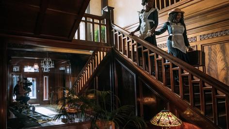 Mansion Grand Staircase; dressed location; photo E.Zachanowich