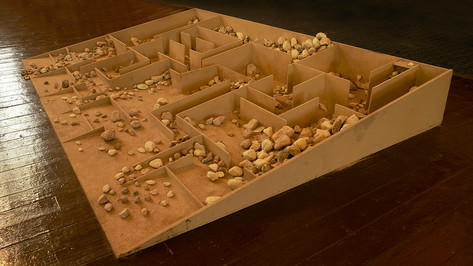 Excavation II; plywood, balsa wood, sand, river stones, 8' x 8'; St. Anne's Anglican Church, Toronto