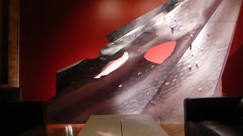 Tensile; digital print on folded paper, 15'h x 17'w x 5'deep; 401 Richmond St W, Toronto