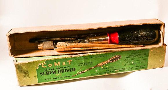 Comet Sprial Ratchet Screwdriver, Mint in original Box