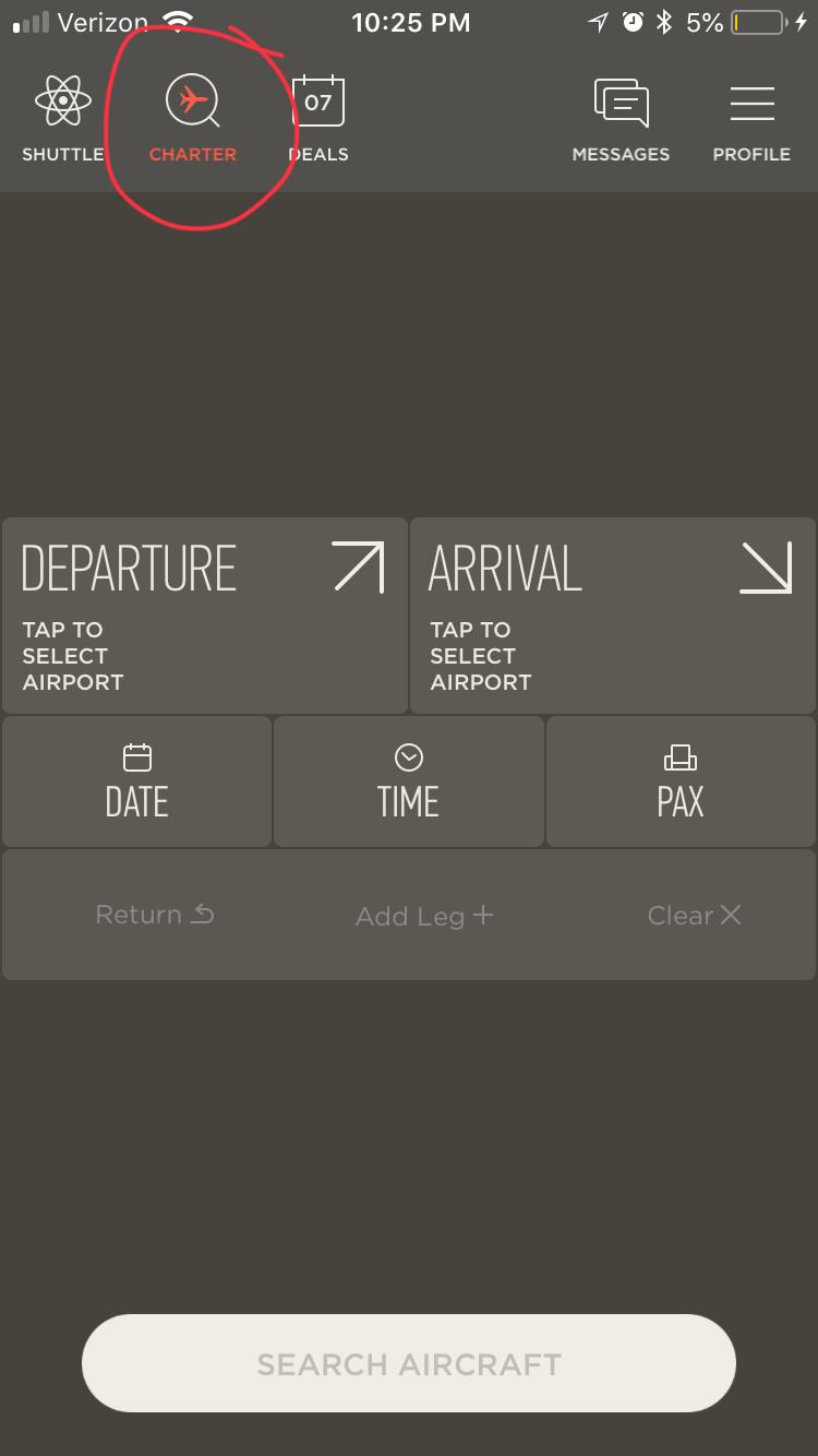 App Screen Shot - Charter