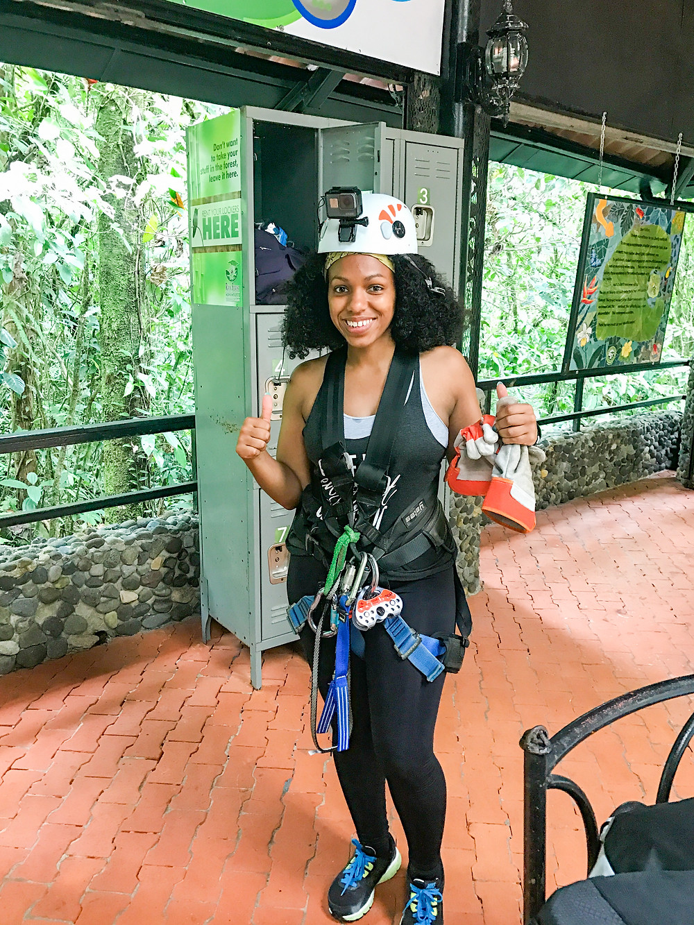 Photo of me celebrating after completing the zip line track in the Costa Rican Rainforest