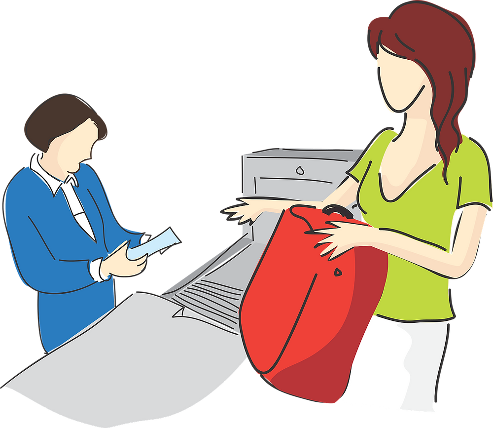 Airport security check cartoon (from Pixabay)
