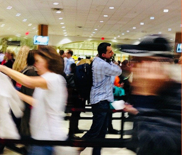 The normal security line at ATL airport taken by Kita the Explorer