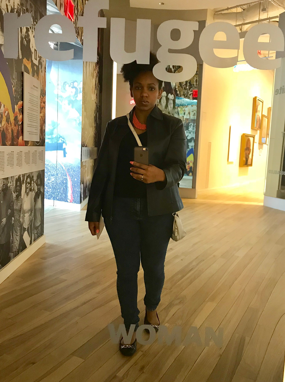 Me in front of Refugee Mirror at Center for Civil and Human Rights