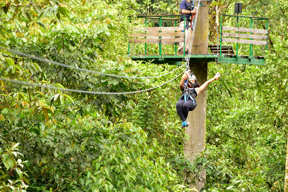Zip lining through the rain forest!