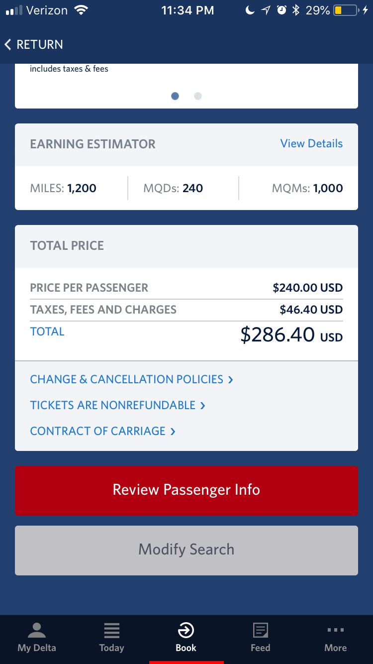 Screen Shot of Delta's price quote