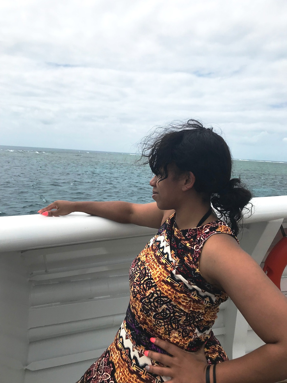 Kita the Explorer Looking out to see waiting for the next reef stop