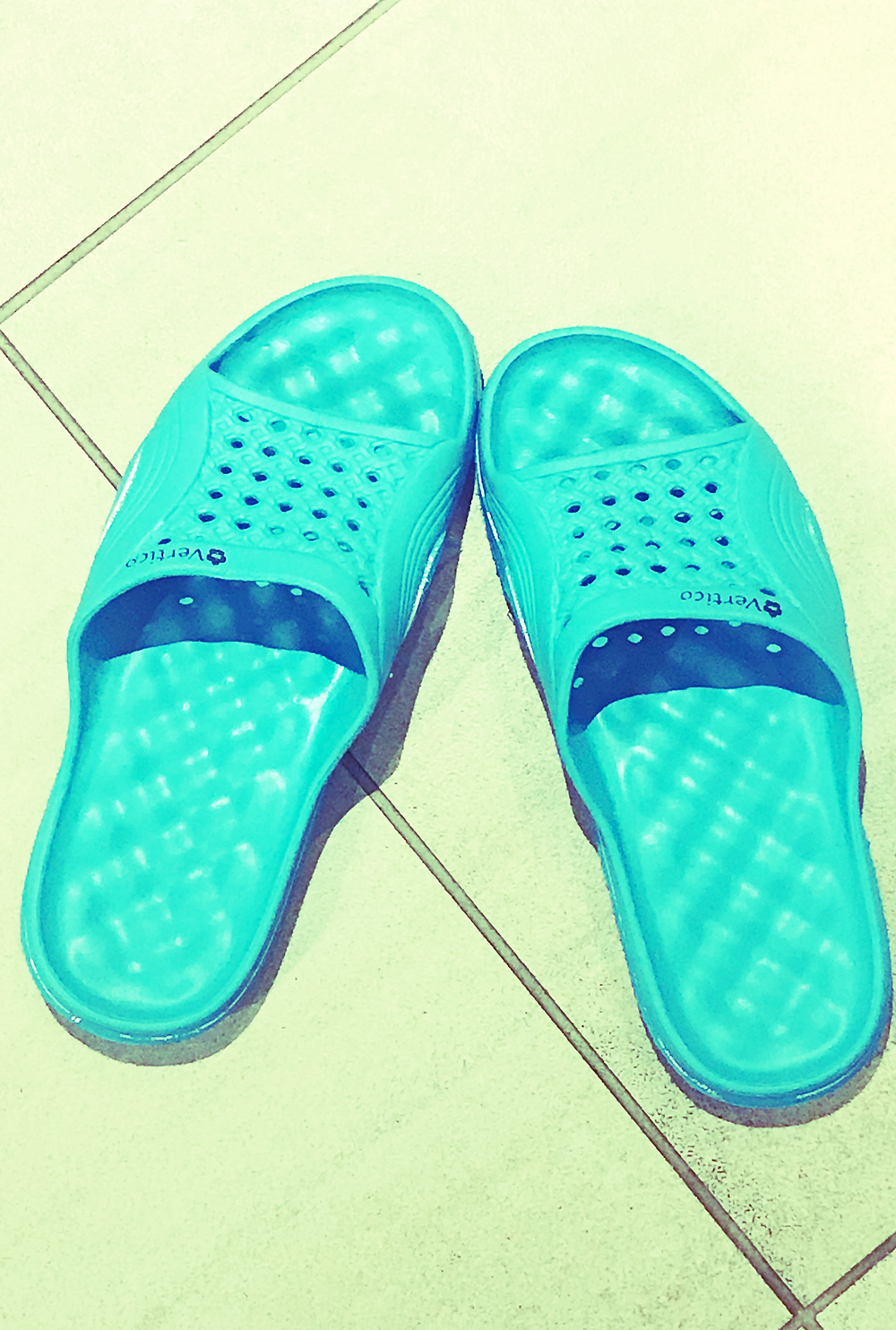 A picture of Kita the Explorer's shower flip flops