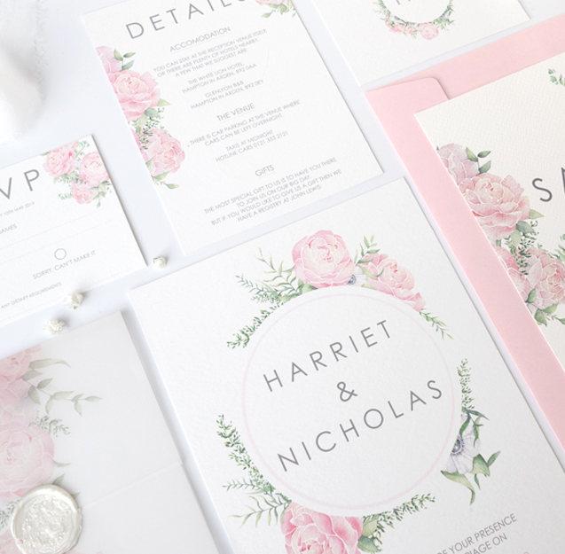 peony floral watercolour wedding invitat