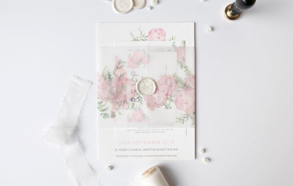 peony watercolour wedding invitation sui