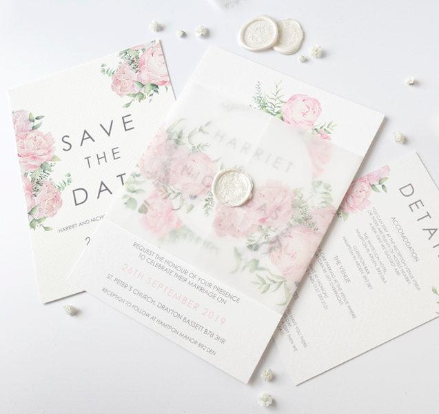 peony watercolour wedding invitation wax