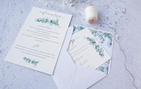 eucalyptus watercolour wedding invitatio