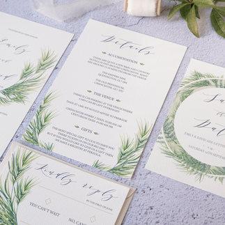 Green leaves watercolour wedding invitat
