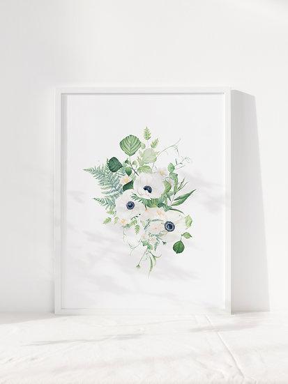 anenome & foliage a4 giclee print